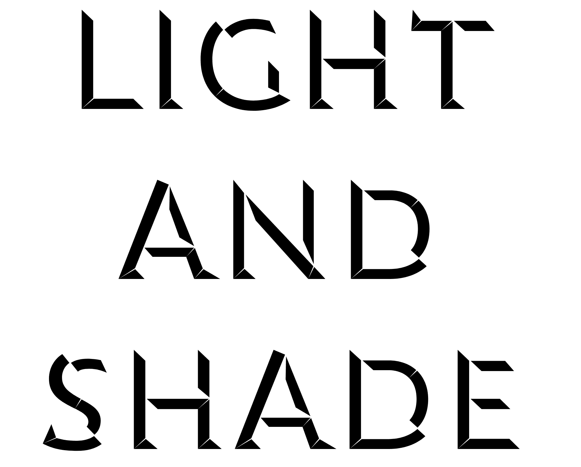 the words light and shade set in two layers
