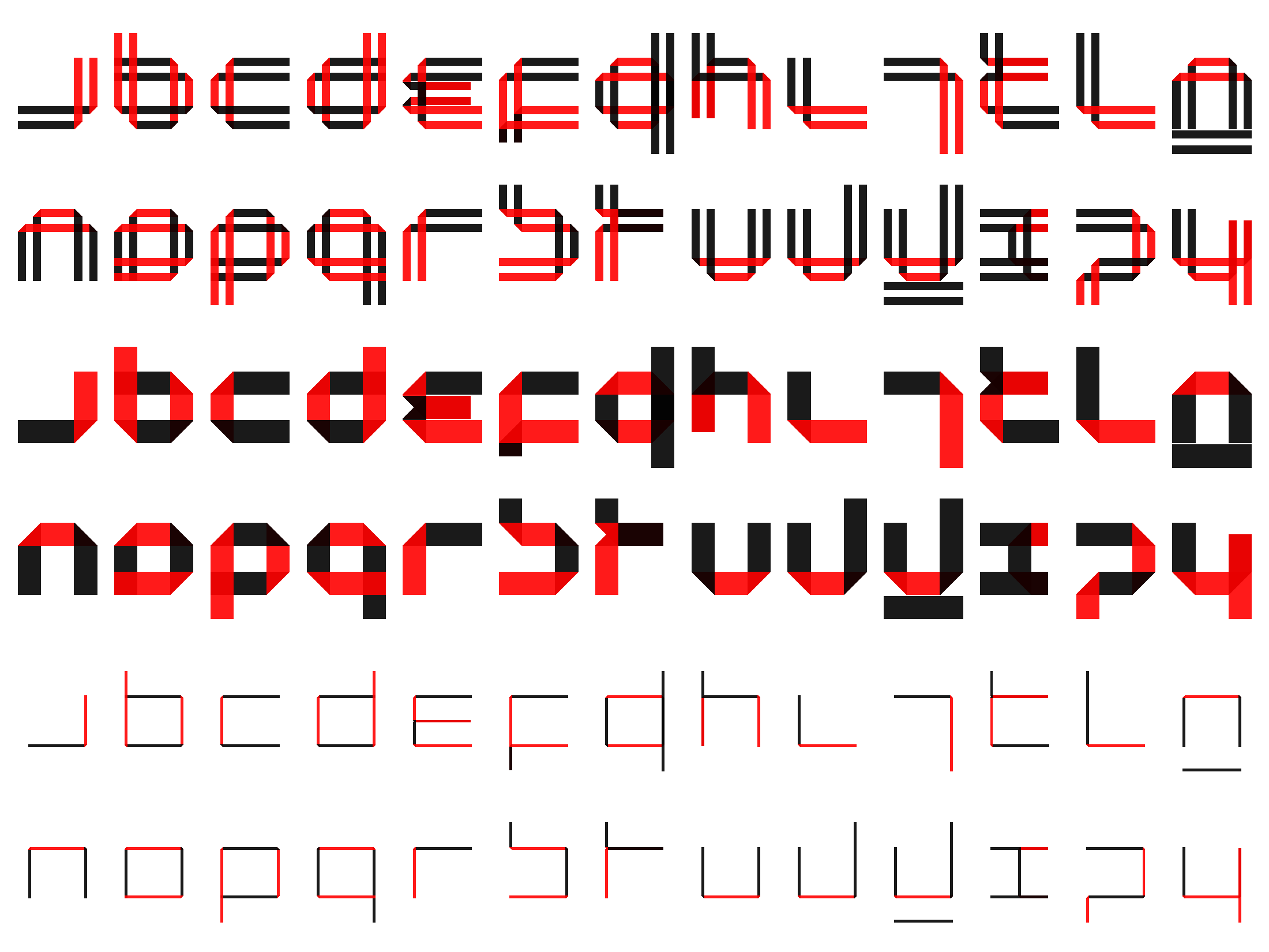 Wim Crouwels New Alphabet as a folded font