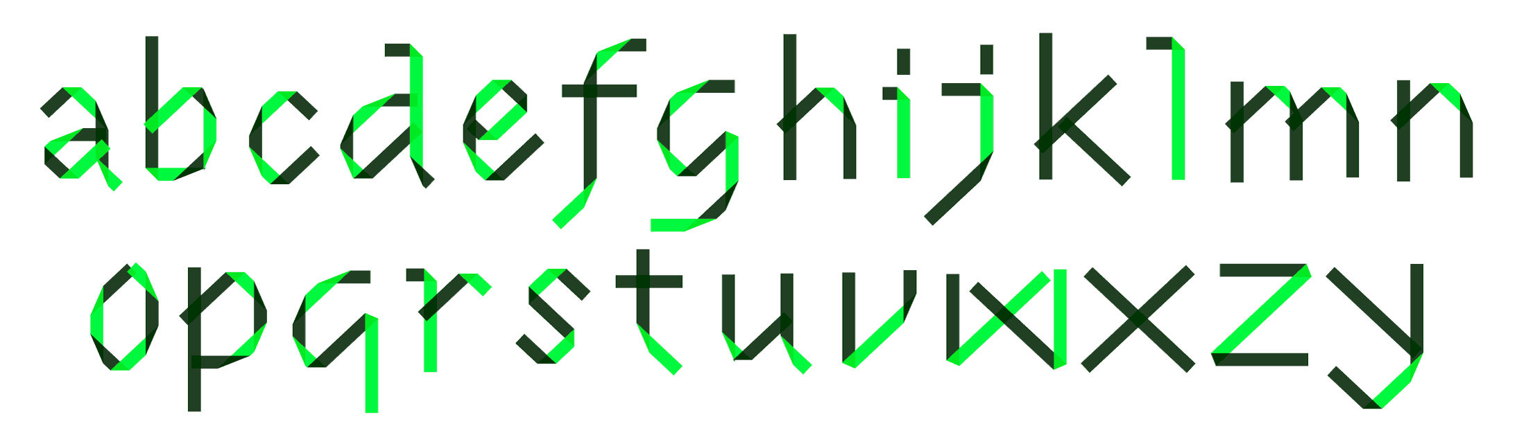 Uppercase set in one of the foldfonts