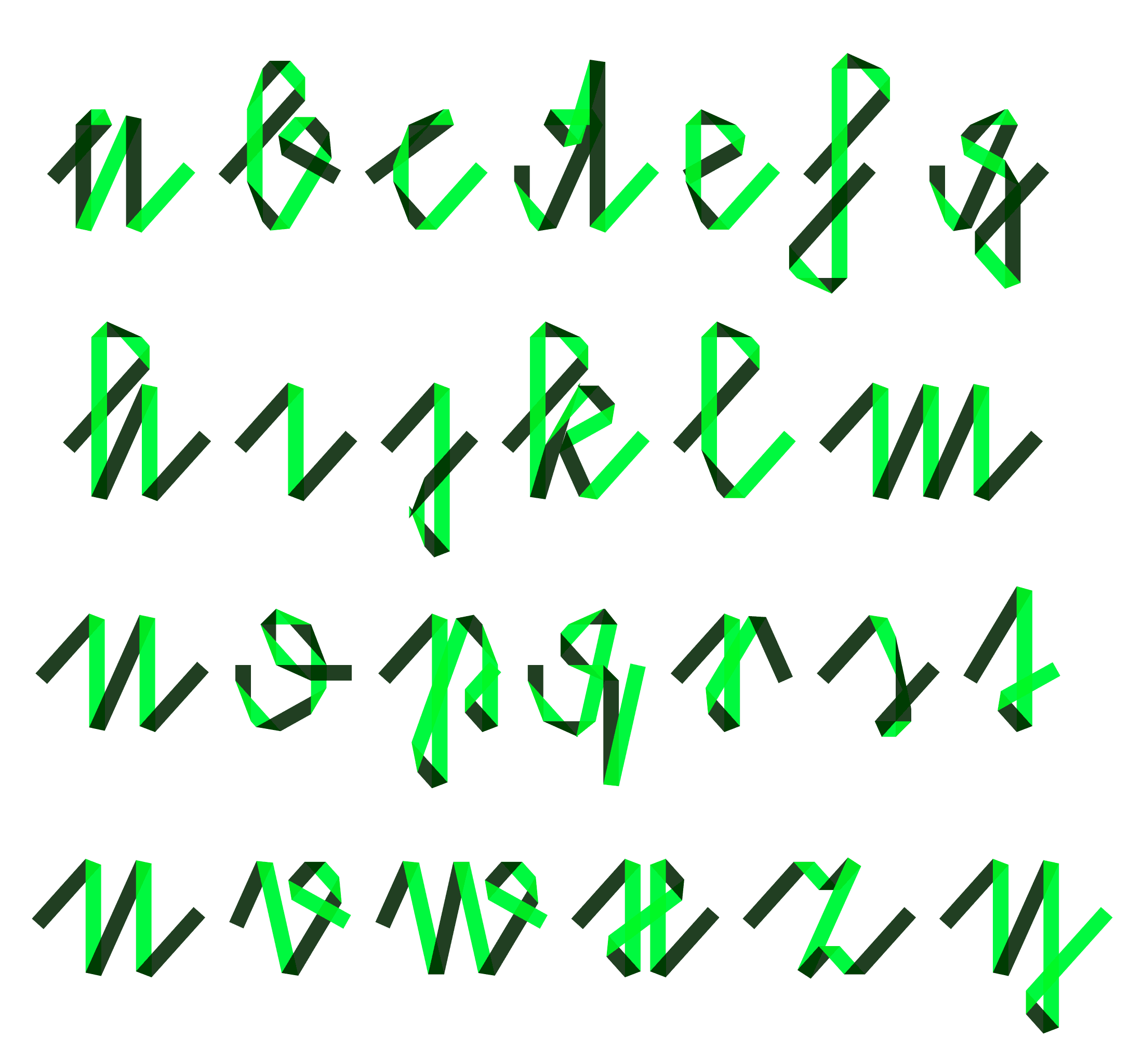Lowercase set in one of the foldfonts
