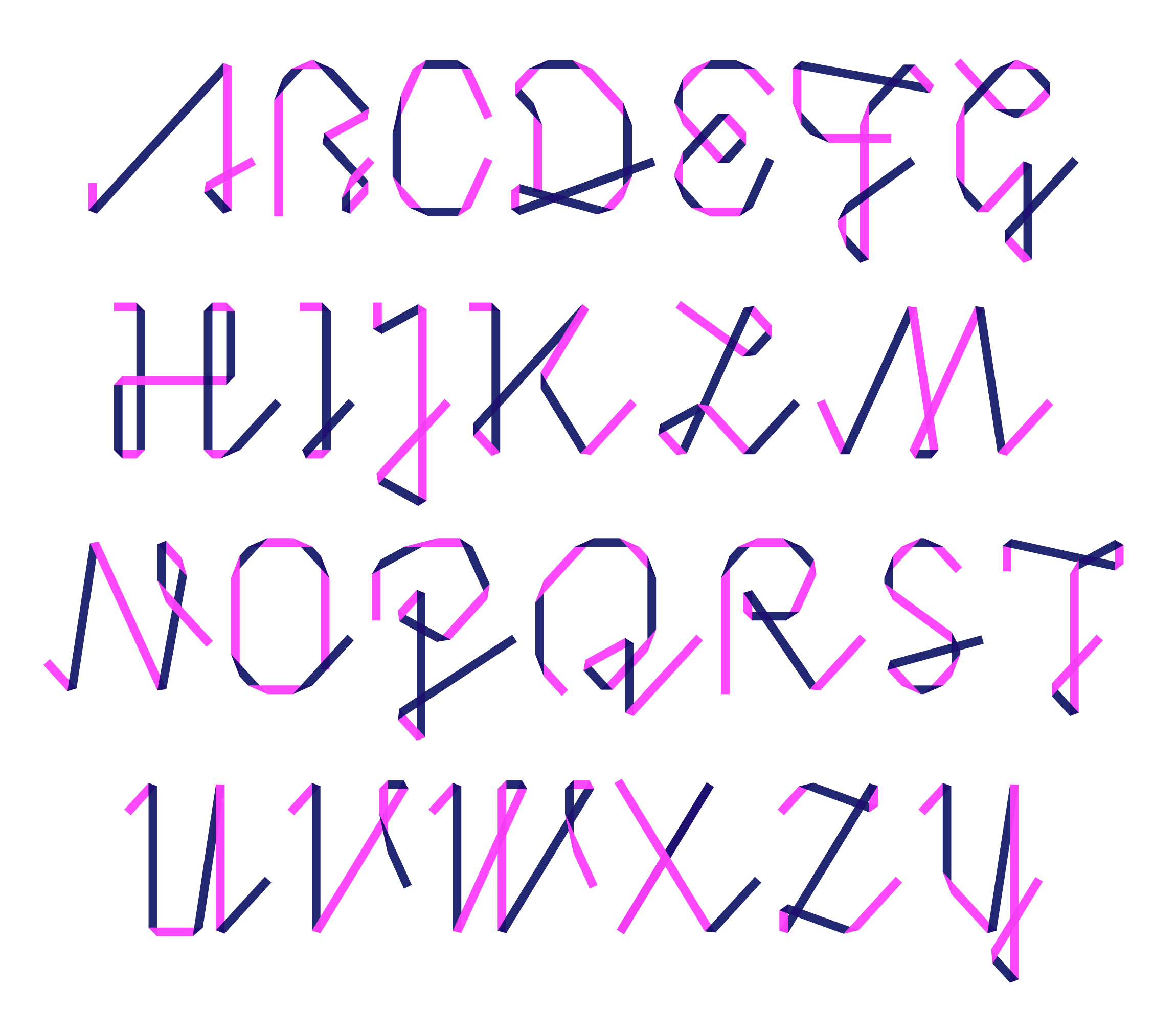Uppercase set in one of the foldfonts.