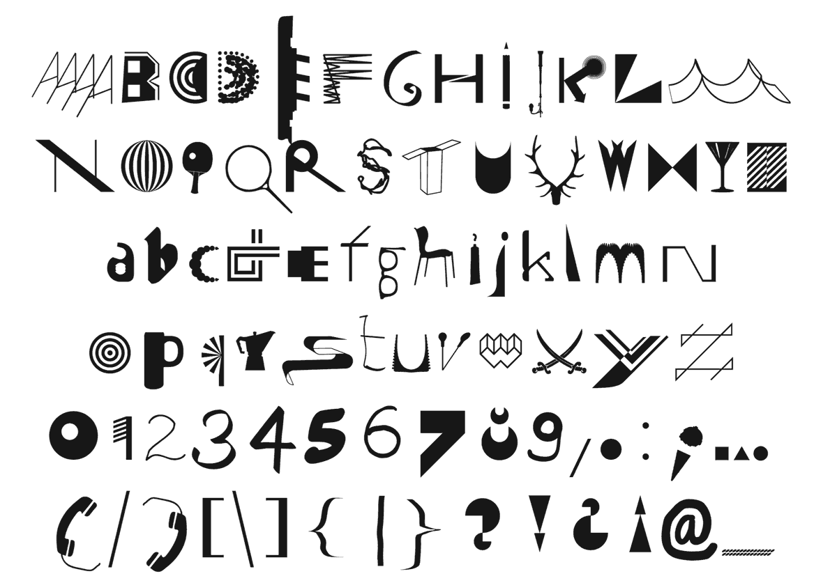 Basic character set of the typeface Noncept