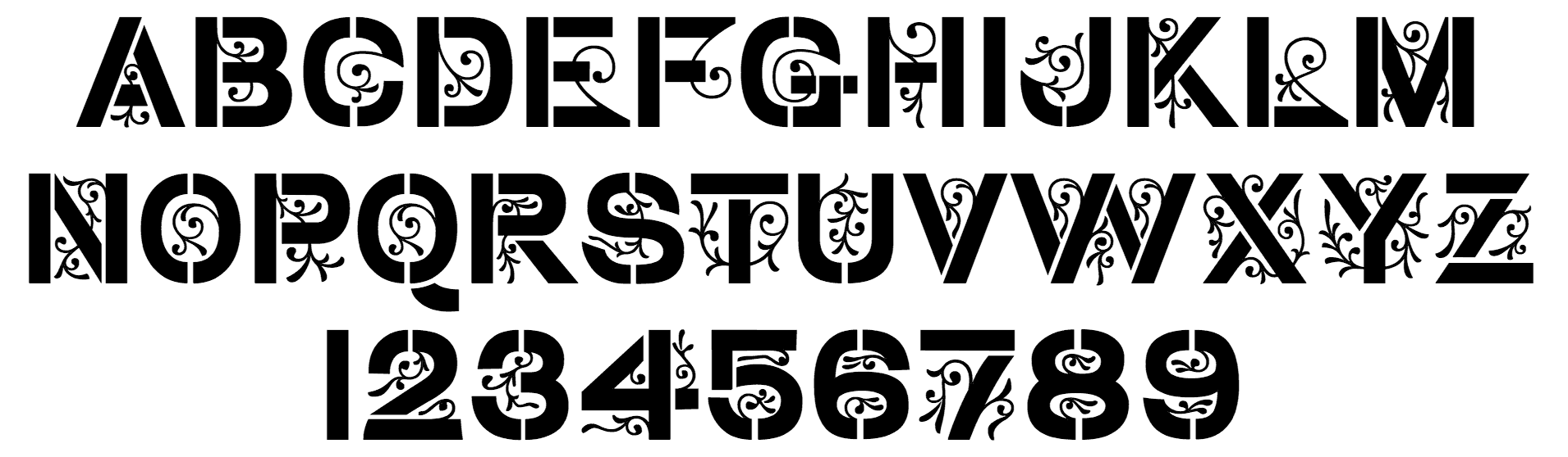 Basic character set of the typeface Stencil Gothic