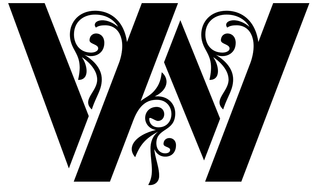 The letter W of stencil gothic
